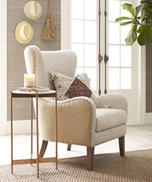 Elle Decor Wingback Upholstered Accent Chair Farmhouse Armchair For Living Room Two Toned Beige 0 0 300x360