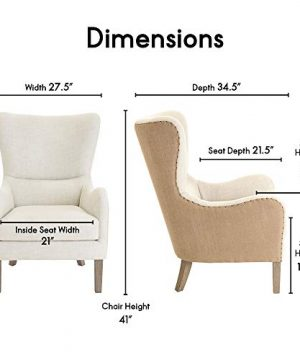 Elle Decor Wingback Upholstered Accent Chair Farmhouse Armchair For Living Room Two Toned Beige 0 1 300x360