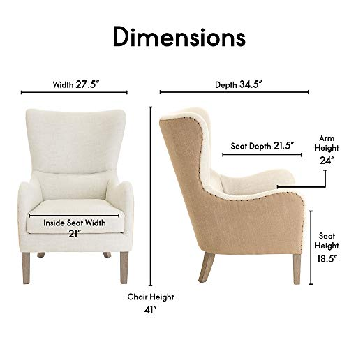 Elle Decor Wingback Upholstered Accent Chair Farmhouse Armchair For Living Room Two Toned Beige 0 1