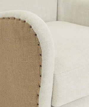 Elle Decor Wingback Upholstered Accent Chair Farmhouse Armchair For Living Room Two Toned Beige 0 3 300x360
