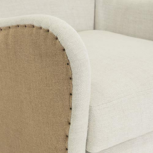 Elle Decor Wingback Upholstered Accent Chair Farmhouse Armchair For Living Room Two Toned Beige 0 3