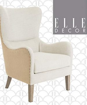 Elle Decor Wingback Upholstered Accent Chair Farmhouse Armchair For Living Room Two Toned Beige 0 300x360