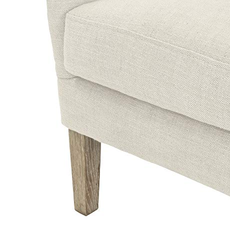 Elle Decor Wingback Upholstered Accent Chair Farmhouse Armchair For Living Room Two Toned Beige 0 4
