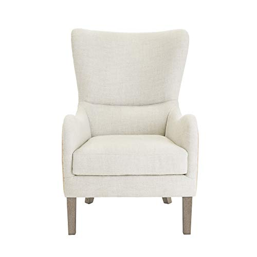 Elle Decor Wingback Upholstered Accent Chair Farmhouse Armchair For Living Room Two Toned Beige 0 5