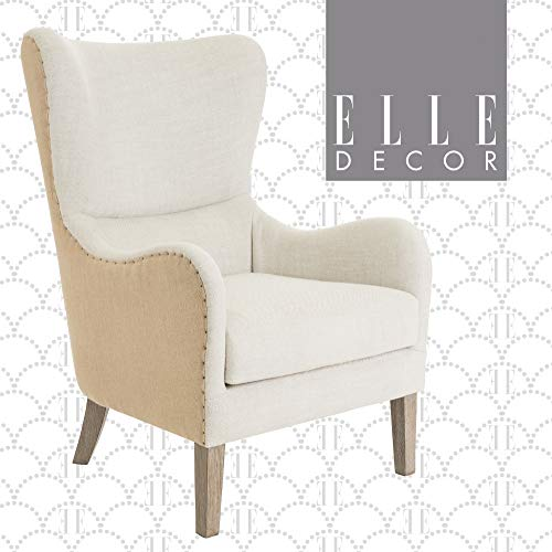 Elle Decor Wingback Upholstered Accent Chair Farmhouse Armchair For Living Room Two Toned Beige 0