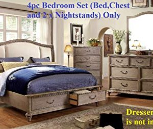 Esofastore Belgrade Collection Antique Modern Padded Fabric HB Storage FB Platform Eastern King Size Bed Rustic Natural Tone Finish W Matching Chest And 2X Nightstand 4pc Set 0 300x253