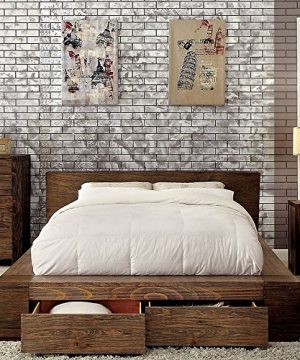 Esofastore Janeiro Collection California King Size Bed Rustic Natural Tone Finish Low Profile Bed W Storage Drawers FB Bedroom Furniture 1pc Bed Solid Wood 0 0 300x360