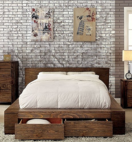 Esofastore Janeiro Collection California King Size Bed Rustic Natural Tone Finish Low Profile Bed W Storage Drawers Fb Farmhouse Goals