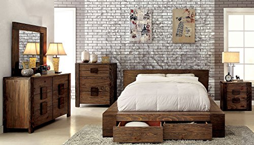 Esofastore Janeiro Collection California King Size Bed Rustic Natural Tone Finish Low Profile Bed W Storage Drawers FB Bedroom Furniture 1pc Bed Solid Wood 0