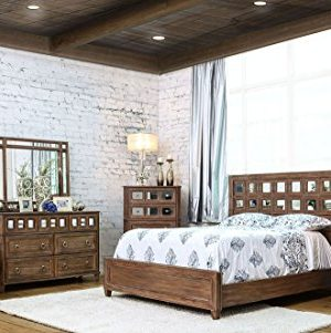 Esofastore New Casual Rustic Oak Bedroom Furniture 4pc Set California King Size Bed W Accent Mirrored HB Panel Dresser Mirror Nightstand Solid Wood 0 300x301