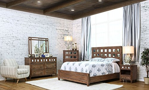 Esofastore New Casual Rustic Oak Bedroom Furniture 4pc Set California King Size Bed W Accent Mirrored Hb Panel Dresser Farmhouse Goals