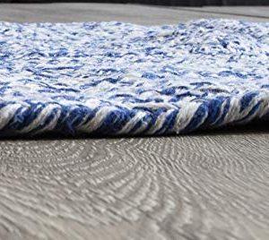 Farmhouse Oval Braided Rugs Blue White 2 X 3 Cotton Kitchen Braided Reversible Throw Rug 0 1 300x268