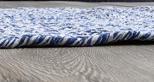 Farmhouse Oval Braided Rugs Blue White 2 X 3 Cotton Kitchen Braided Reversible Throw Rug 0 1