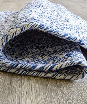 Farmhouse Oval Braided Rugs Blue White 2 X 3 Cotton Kitchen Braided Reversible Throw Rug 0 2 300x360