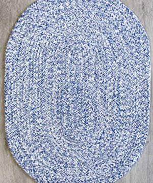 Farmhouse Oval Braided Rugs Blue White 2 X 3 Cotton Kitchen Braided Reversible Throw Rug 0 300x360