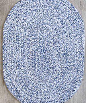 Farmhouse Oval Braided Rugs Blue White 2 X 3 Cotton Kitchen Braided Reversible Throw Rug 0 300x360