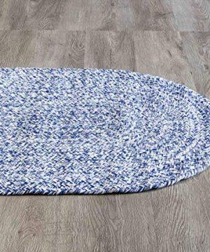 Farmhouse Oval Braided Rugs Blue White 2 X 3 Cotton Kitchen Braided Reversible Throw Rug 0 4 300x360