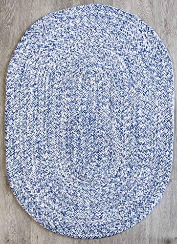 Farmhouse Oval Braided Rugs Blue White 2 X 3 Cotton Kitchen Braided Reversible Throw Rug 0