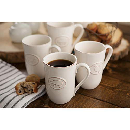 Farmhouse Stoneware Mugs With Antique Finish In Cream 6 Pack 0 0