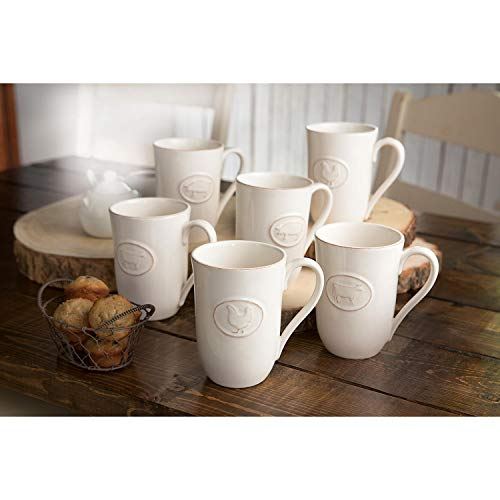 Farmhouse Stoneware Mugs With Antique Finish In Cream 6 Pack 0