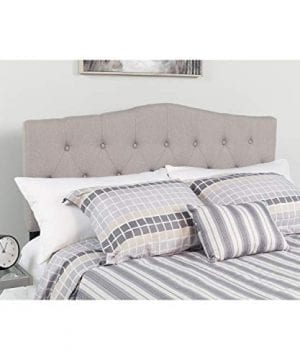 Flash Furniture Cambridge Tufted Upholstered King Size Headboard In Light Gray Fabric 0 300x360
