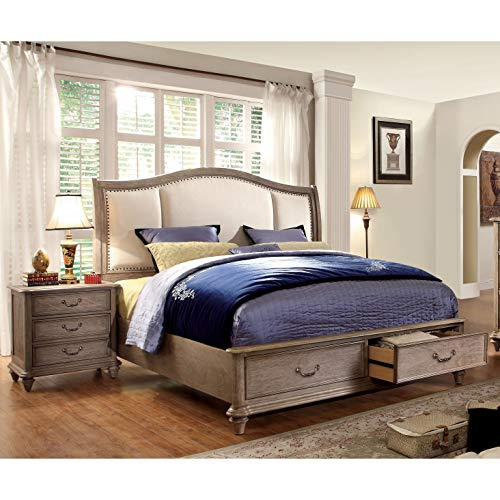 Furniture Of America Minka IV Rustic Grey 2 Piece Bed With Nightstand Set King 0 0