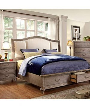 Furniture Of America Minka IV Rustic Grey 2 Piece Bed With Nightstand Set King 0 300x360