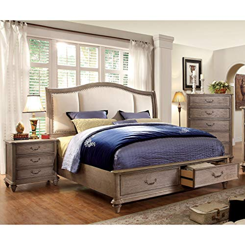 Furniture Of America Minka IV Rustic Grey 2 Piece Bed With Nightstand Set King 0