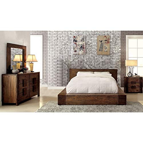 Furniture Of America Shaylen I Rustic 4 Piece Natural Tone Low Profile Bedroom Set California King 0