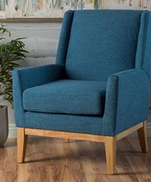 GDF Studio Archibald Mid Century Modern Fabric Accent Chair Blue 0 300x360