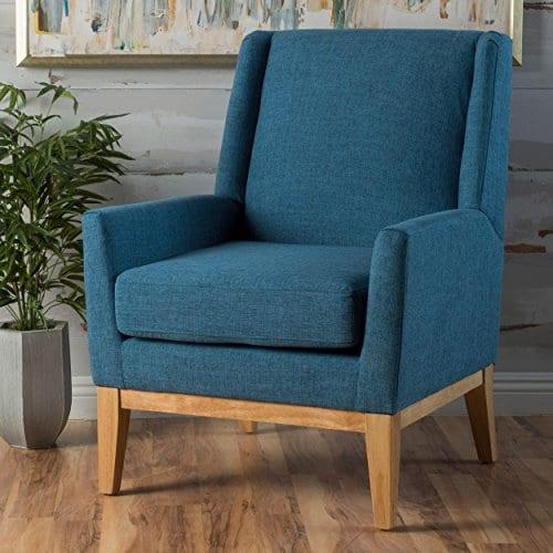 GDF Studio Archibald Mid Century Modern Fabric Accent Chair Blue 0