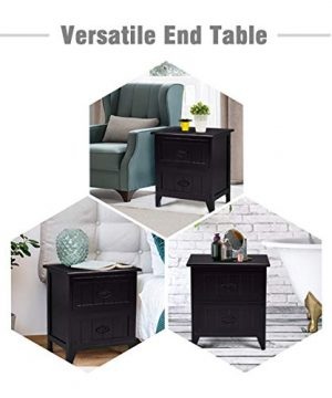 Giantex Nightstand Wooden Sofa Beside Table W 2 Drawers For Bedroom Side Storage Cabinet End Table 1 Black 0 300x360