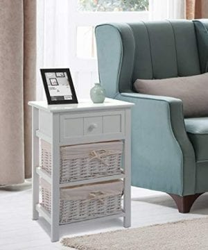 Giantex Nightstand With Drawers Wooden W 2 Storage Baskets And Open Shelf For Bedroom Bedside Sofa End Table 2 White 0 0 300x360