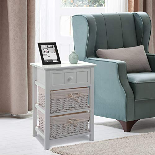 Giantex Nightstand With Drawers Wooden W 2 Storage Baskets And Open Shelf For Bedroom Bedside Sofa End Table 2 White 0 0