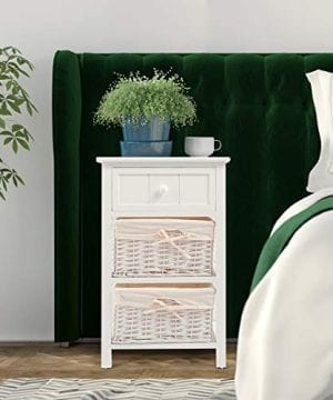 Giantex Nightstand With Drawers Wooden W 2 Storage Baskets And Open Shelf For Bedroom Bedside Sofa End Table 2 White 0 1 300x360