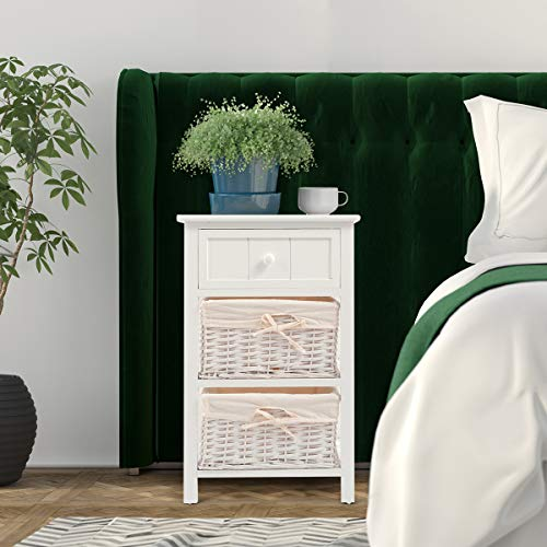 Giantex Nightstand With Drawers Wooden W 2 Storage Baskets And Open Shelf For Bedroom Bedside Sofa End Table 2 White 0 1