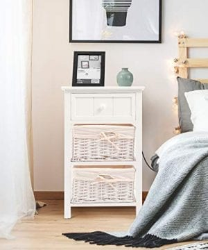 Giantex Nightstand With Drawers Wooden W 2 Storage Baskets And Open Shelf For Bedroom Bedside Sofa End Table 2 White 0 2 300x360