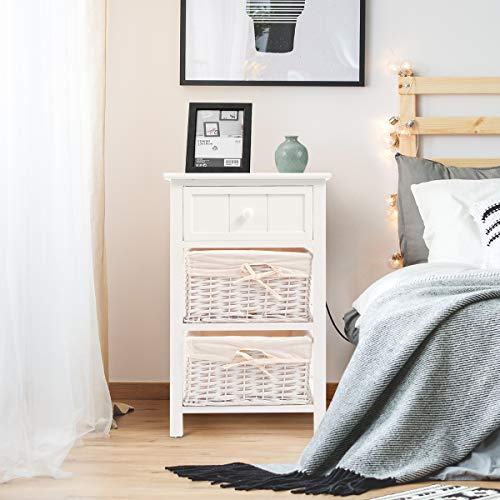 Giantex Nightstand With Drawers Wooden W 2 Storage Baskets And Open Shelf For Bedroom Bedside Sofa End Table 2 White 0 2