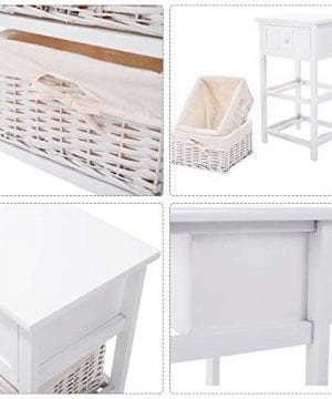 Giantex Nightstand With Drawers Wooden W 2 Storage Baskets And Open Shelf For Bedroom Bedside Sofa End Table 2 White 0 3 300x360