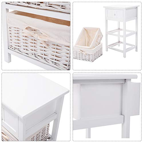 Giantex Nightstand With Drawers Wooden W 2 Storage Baskets And Open Shelf For Bedroom Bedside Sofa End Table 2 White 0 3