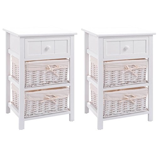 Giantex Nightstand With Drawers Wooden W 2 Storage Baskets And Open Shelf For Bedroom Bedside Sofa End Table 2 White 0
