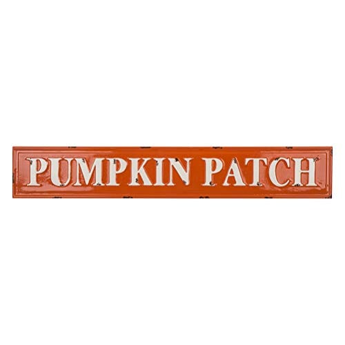 Glitzhome Rustic Style 3575 L Enameled Metal Pumpkin Patch Wall Sign For Fall Harvest Thanksgiving Decorations 0 0