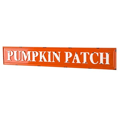 Glitzhome Rustic Style 3575 L Enameled Metal Pumpkin Patch Wall Sign For Fall Harvest Thanksgiving Decorations 0 1