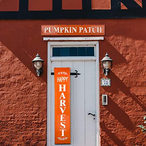 Glitzhome Rustic Style 3575 L Enameled Metal Pumpkin Patch Wall Sign For Fall Harvest Thanksgiving Decorations 0 4