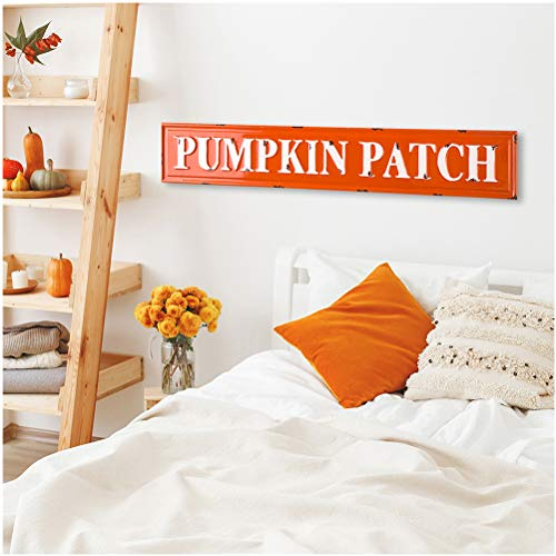 Glitzhome Rustic Style 3575 L Enameled Metal Pumpkin Patch Wall Sign For Fall Harvest Thanksgiving Decorations 0