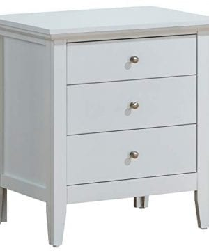 Glory Furniture Hammond Fully Assembled White Top Quality Wood 3 Drawer Luxury Bedroom Furniture Nightstand 26 H X 24 W X 18 D 0 300x360