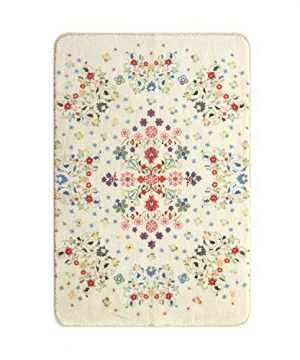 HAOCOO Rustic Floral Area Rugs 2x3 Non Slip Country Style Contemporary Throw Rugs Beige Soft Velvet Small Area Rugs Romantic Floor Carpet For Door Mat Entryway Bedroom Beside Bathroom Laundry Decor 0 0 300x360