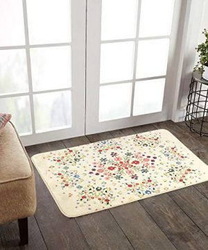 HAOCOO Rustic Floral Area Rugs 2x3 Non Slip Country Style Contemporary Throw Rugs Beige Soft Velvet Small Area Rugs Romantic Floor Carpet For Door Mat Entryway Bedroom Beside Bathroom Laundry Decor 0 1 300x360