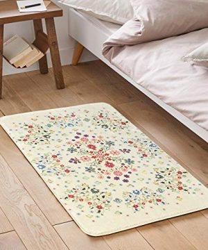 HAOCOO Rustic Floral Area Rugs 2x3 Non Slip Country Style Contemporary Throw Rugs Beige Soft Velvet Small Area Rugs Romantic Floor Carpet For Door Mat Entryway Bedroom Beside Bathroom Laundry Decor 0 2 300x360