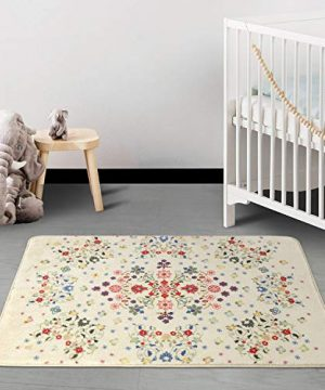 HAOCOO Rustic Floral Area Rugs 2x3 Non Slip Country Style Contemporary Throw Rugs Beige Soft Velvet Small Area Rugs Romantic Floor Carpet For Door Mat Entryway Bedroom Beside Bathroom Laundry Decor 0 3 300x360
